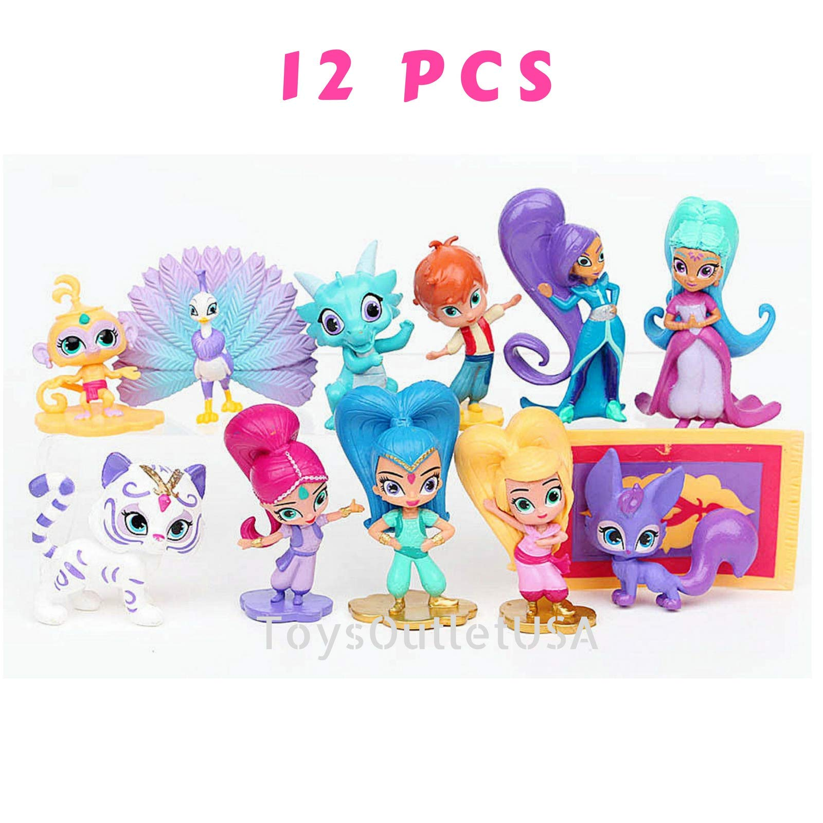 Shimmer and Shine Figure Set 12pcs Cake Toppers Party Supplies Birthday Decorations Genies Shimmer, Shine, Zac,Leah,Tala, Kaz and more Toys