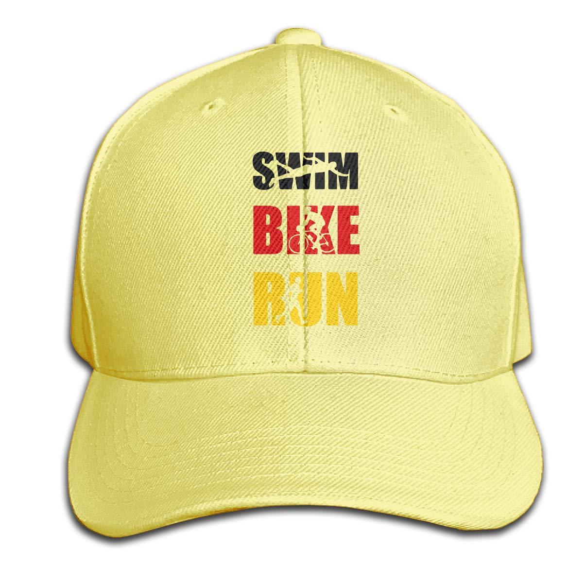 TAOHJS106 German Swim Bike Run Repeat Unisex Baseball Cap Adjustable Plain Hat for Women Men