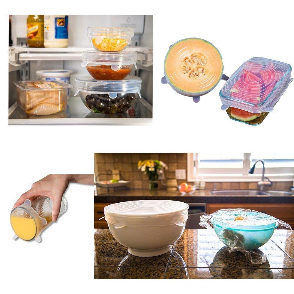 Reutilizable Fundas Protectoras para Alimentos Tapa Tazas Sinwind Tapas de Silicona El/áSticas 6 Paquetes de Varios Tama/ñOs de Fundas para Tazones de Silicona 12 Transparente