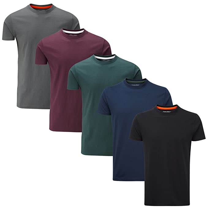 28ec71990ec70 Charles Wilson Paquete 5 Camisetas Cuello Redondo Lisas  Amazon.es  Ropa y  accesorios