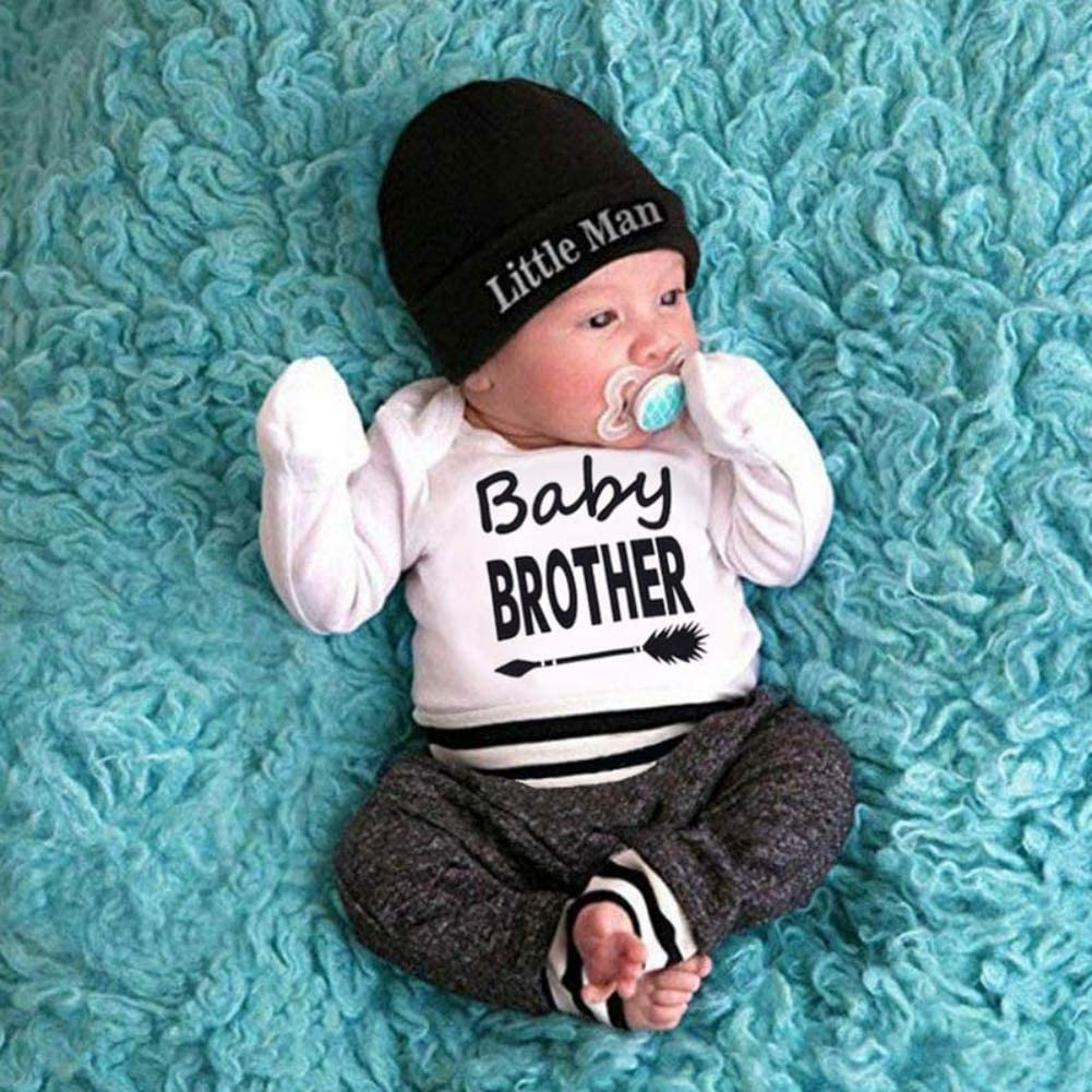 Newborn Baby 3PCs Clothing Set Long Sleeve Letter Prints Romper Hat 0-18Months BOBORA Baby Boy Clothes Deer Trouser