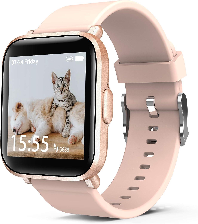 ORYTO Smartwatch, Relojes Inteligentes Mujer Rosa, Personalice la Pantalla, Impermeable IP68 Pulsera de Actividad con Monitor Sueño Pulsómetros Caloría Podómetro para Android Smartphone iPhone