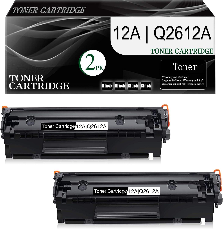 2-Pack (Black) 12A | Q2612A Compatible Toner Cartridge Replacement for HP Laserjet 1020 (Q5911A) 1022 (Q5912A) 1022n (Q5913A) 1022nw (Q5914A) 1010 (Q2640A) 1012 (Q2641A) Printer Toner Cartridge.