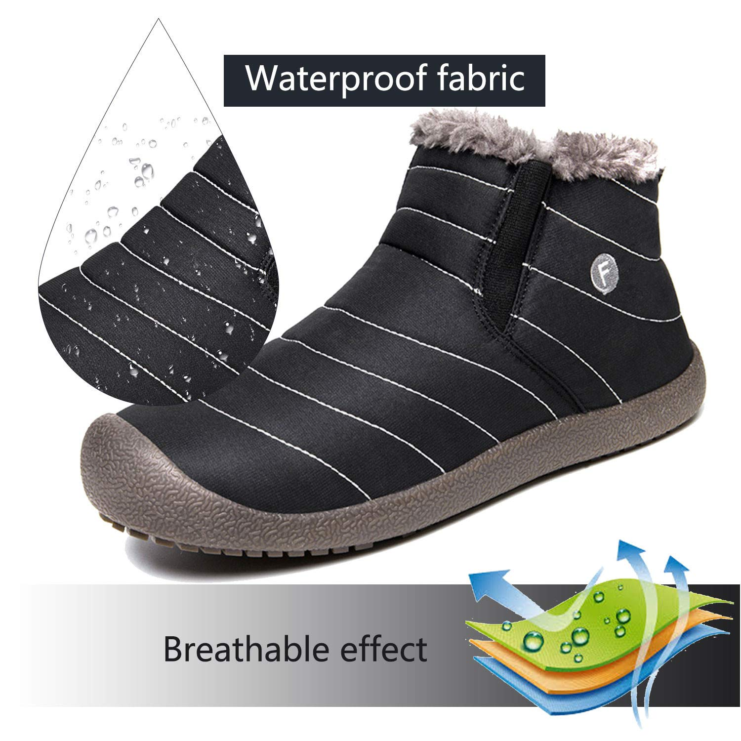 JACKSHIBO Mens Womens Snow Boots Waterproof Fur Lined Winter Boots Outdoor Slip on Boots B01MCYCLRG