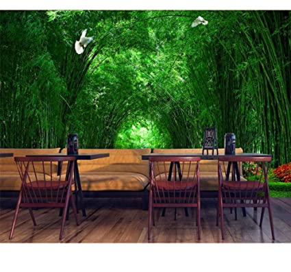 Mural Custom Wallpaper Bamboo Forest Park Shade Road 3D ...