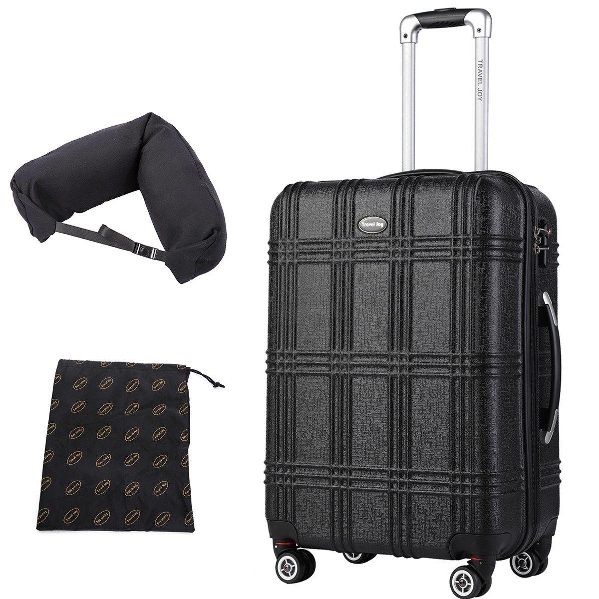 Expandable Spinner Luggage Set,TSA lightweight Hardside Luggage Sets, 20'' 24''28 inches Luggage (BLACK-1, 20 inches) by Travel Joy (Image #2)
