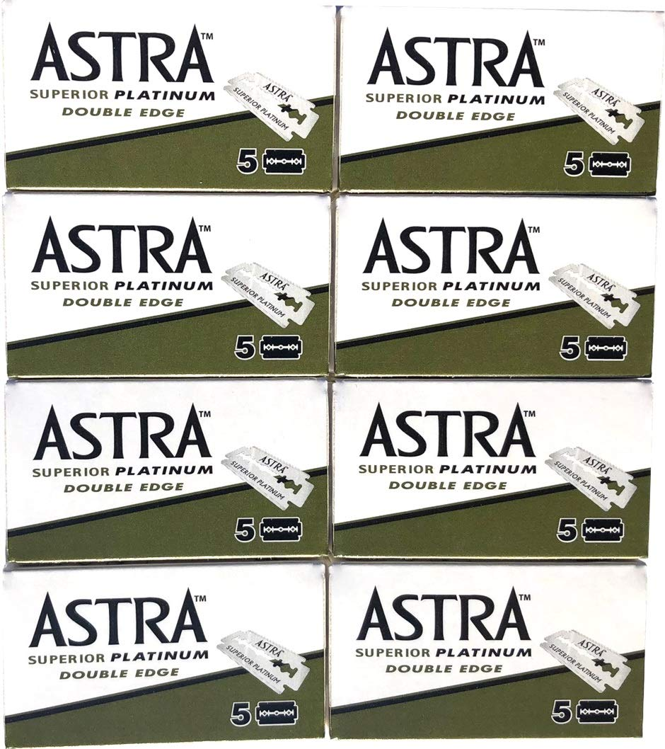 Astra Superior Platinum Double Edge Safety Razor Blades, 40 blades (5x8)