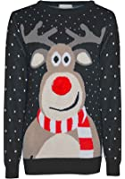 Blush Avenue® Mens Ladies Retro Xmas Rudolf Reindeer Pom Pom Nose Novelty Winter Jumper Sweater