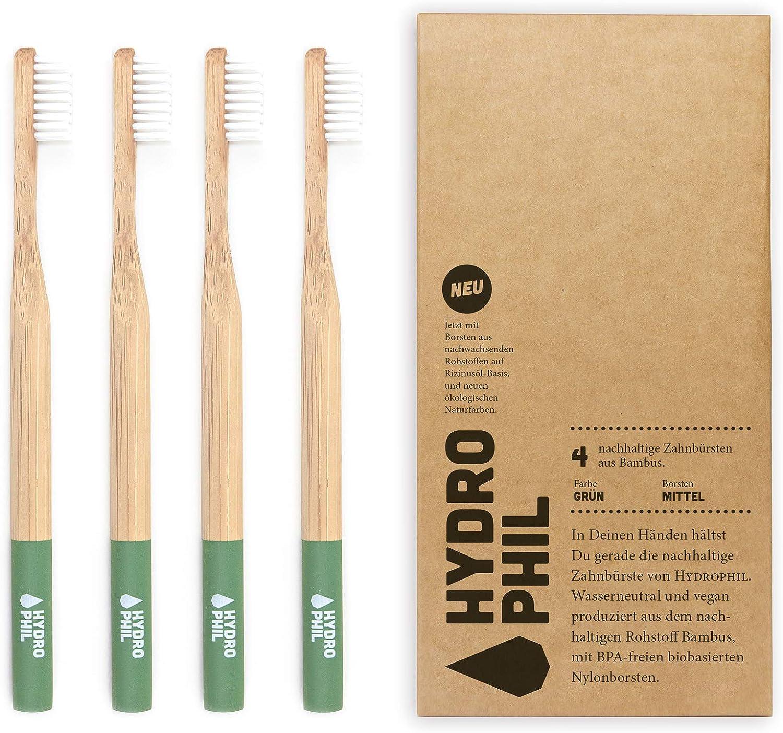 HYDROPHIL Nachhaltige Zahnbürste aus Bambus Grün 4er Pack Borsten mittelweich im Recycling Karton aus 100% nachwachsenden Rohstoffen –