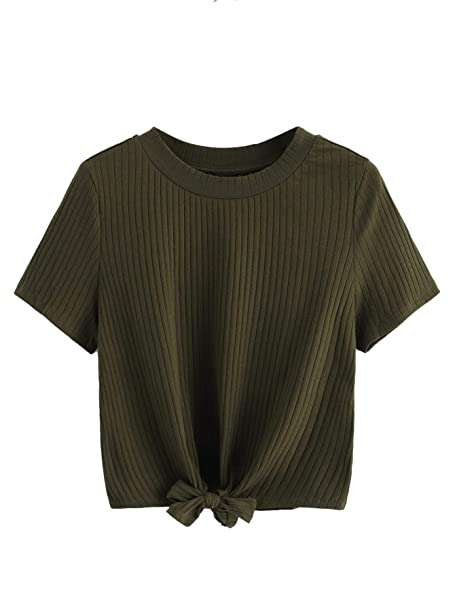 657c1db9d58451 Romwe Women's Cute Knot Front Solid Ribbed Tee Crop Top T-Shirt Army Green  XS
