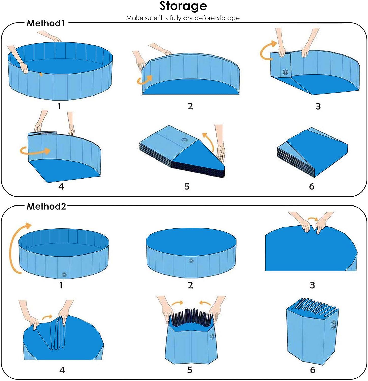 dibujo de como plegar una piscina para perros, dos métodos, en inglés