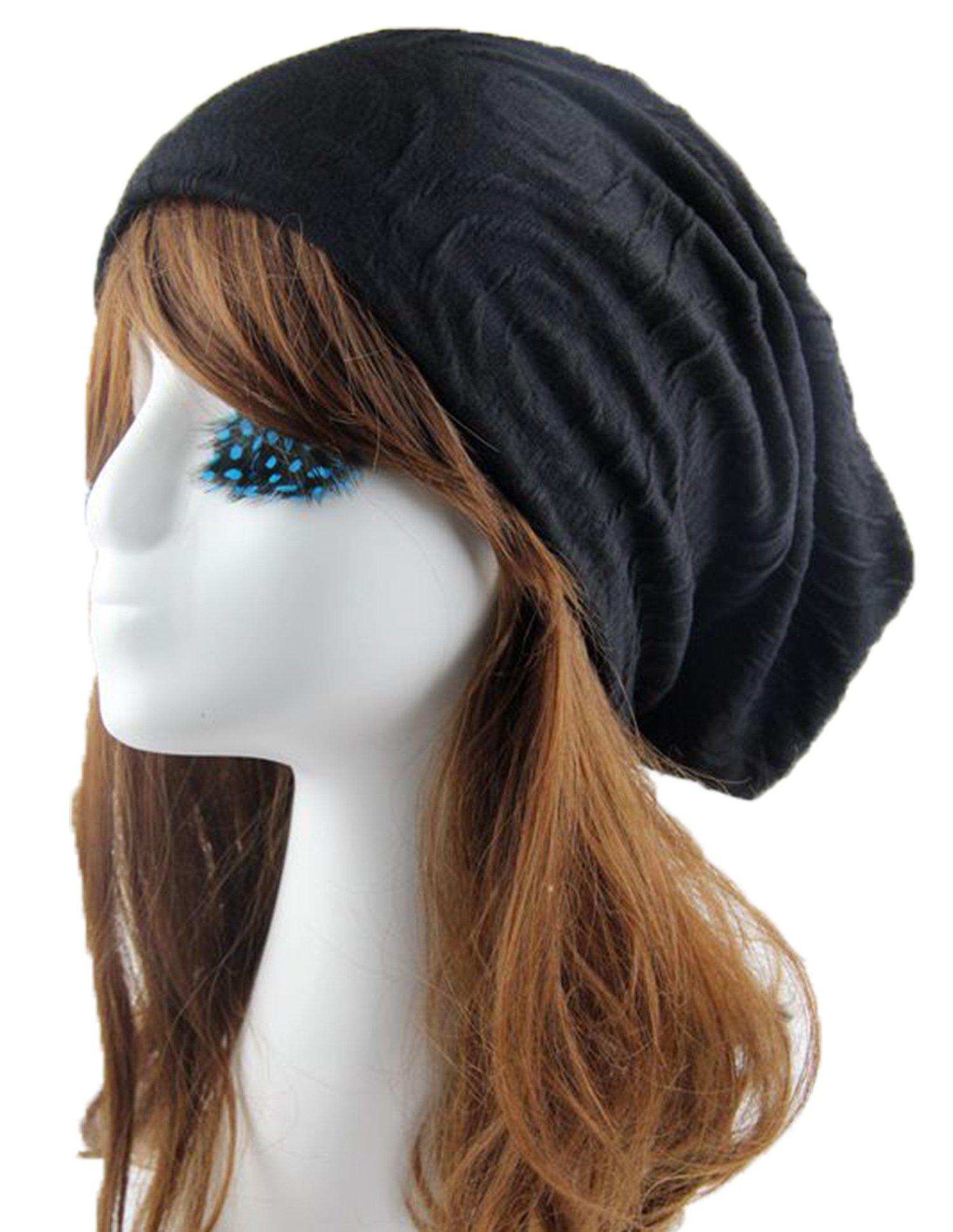 Urban Virgin Slap Beanie, Womens Soft Slouchy Cap Black One Size (30.526.5CM)