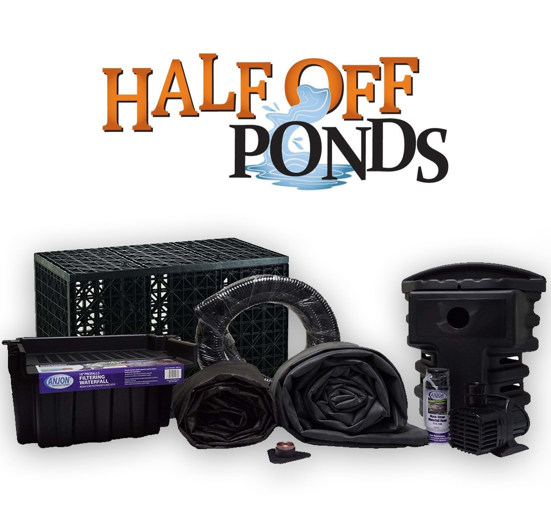 Half Off Ponds PSANB1-10' x 20' Pondless Small Anjon Waterfall Kit with 3,000 GPH Pump, 16'' Waterfall, Pump Vault, and Eco-Blox