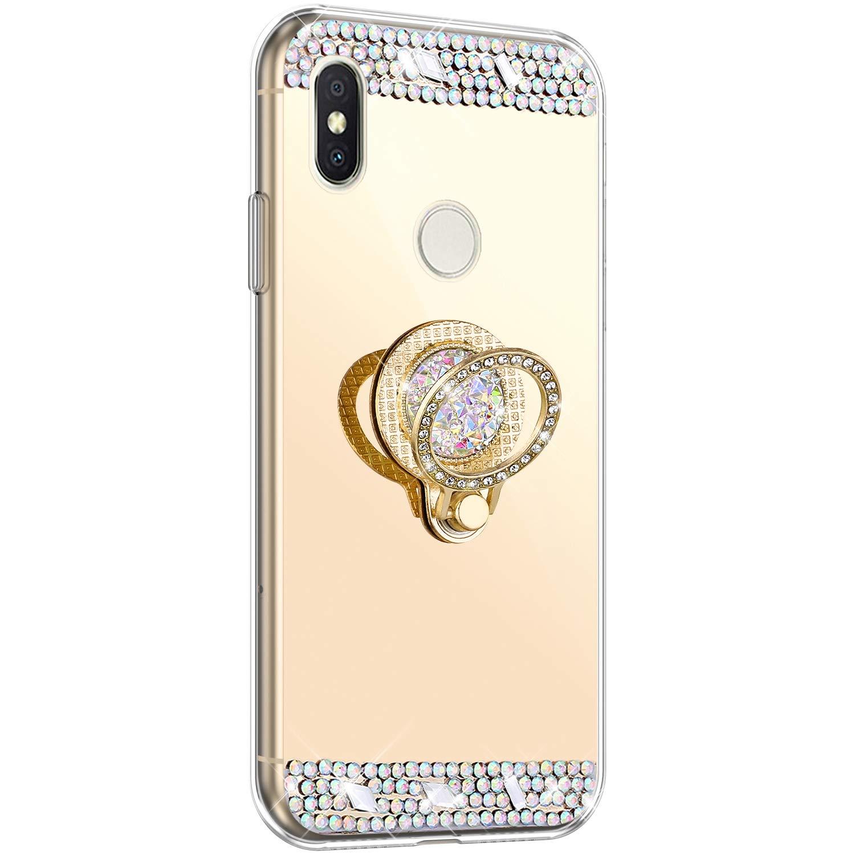YSIMEE Compatibile Cover Xiaomi Redmi S2 Custodie Brillantini Glitter Diamante Specchio in TPU Silicone Antiurto Anti-Graffio Ultra Sottile Morbida Bumper Mirror Case con Anello,Oro