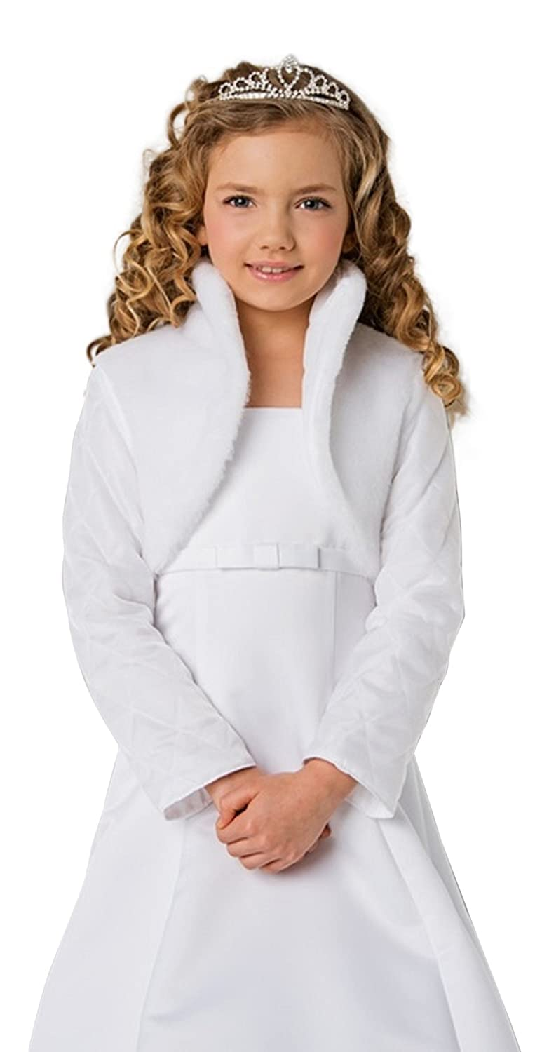 Girls Communion Flower Girl Faux Fur Jacket Bolero CJ120 Lacey Bell CJ-120