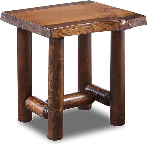 Rustic Log End Table Pine and Cedar Honey Pine