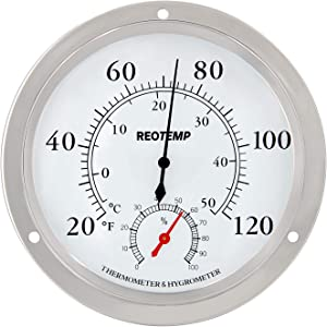 """REOTEMP Wall Thermometer Hygrometer, Analog, 5.75"""" Polished Metal 304SS and Glass, Humidity and Temperature Monitor (20 to 120 F&C)"""