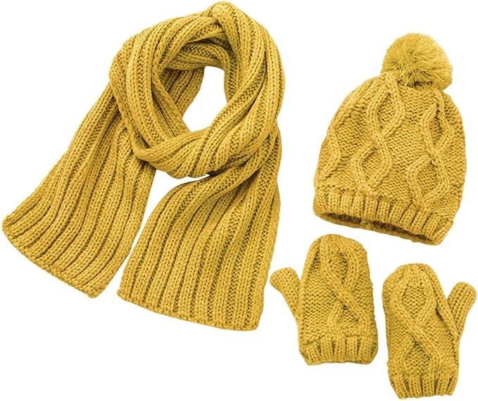 3 PCS bebé Sombrero y Bufandas y Guante, otoño Invierno niños ...