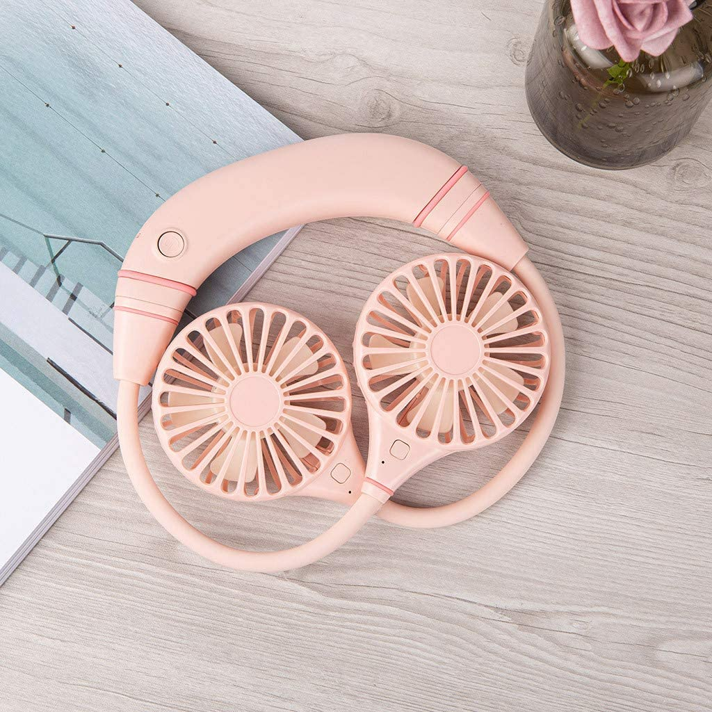 Both Sides Removed and Used Separately Hand Free Personal Fan 3 Speed Adjustable 360/° Rotate Fan Pink Versatility Mini Hanging Neck Fan
