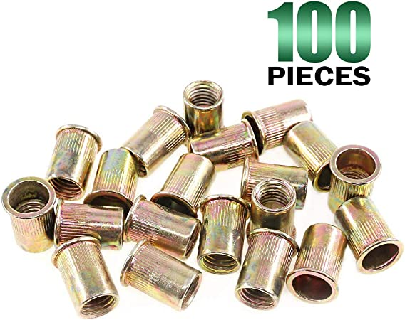 Metric Rivet Nut Kit Carbon Steel Flat Head Threaded Insert Nut Assorted 175 PCS