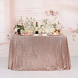 TRLYC Seamless Sequin Tablecloth Rose Gold Sequin Fabric Tablecloth 65x102 Inch for Wedding