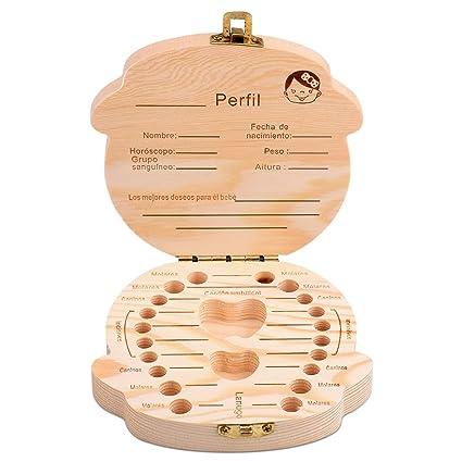 Tomkity Caja de Dientes de Leche Souvenir Caja Guardar Madera Diente Organizador de la Caja para