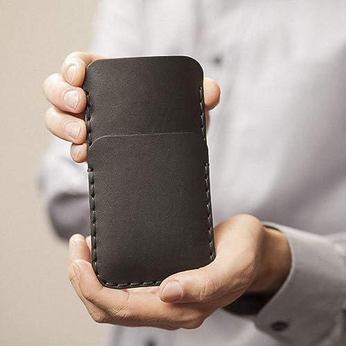 Negro estuche billetera funda de cuero para Google Pixel 4, 3 con bolsillos para tarjetas de crédito. Estuche de manga. Cosido a mano: Amazon.es: Handmade
