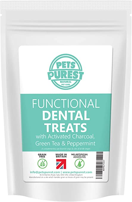 Pets Purest Grano libre de perro dental Trata - 100% Natural Plaque Off tártaro refrescar el