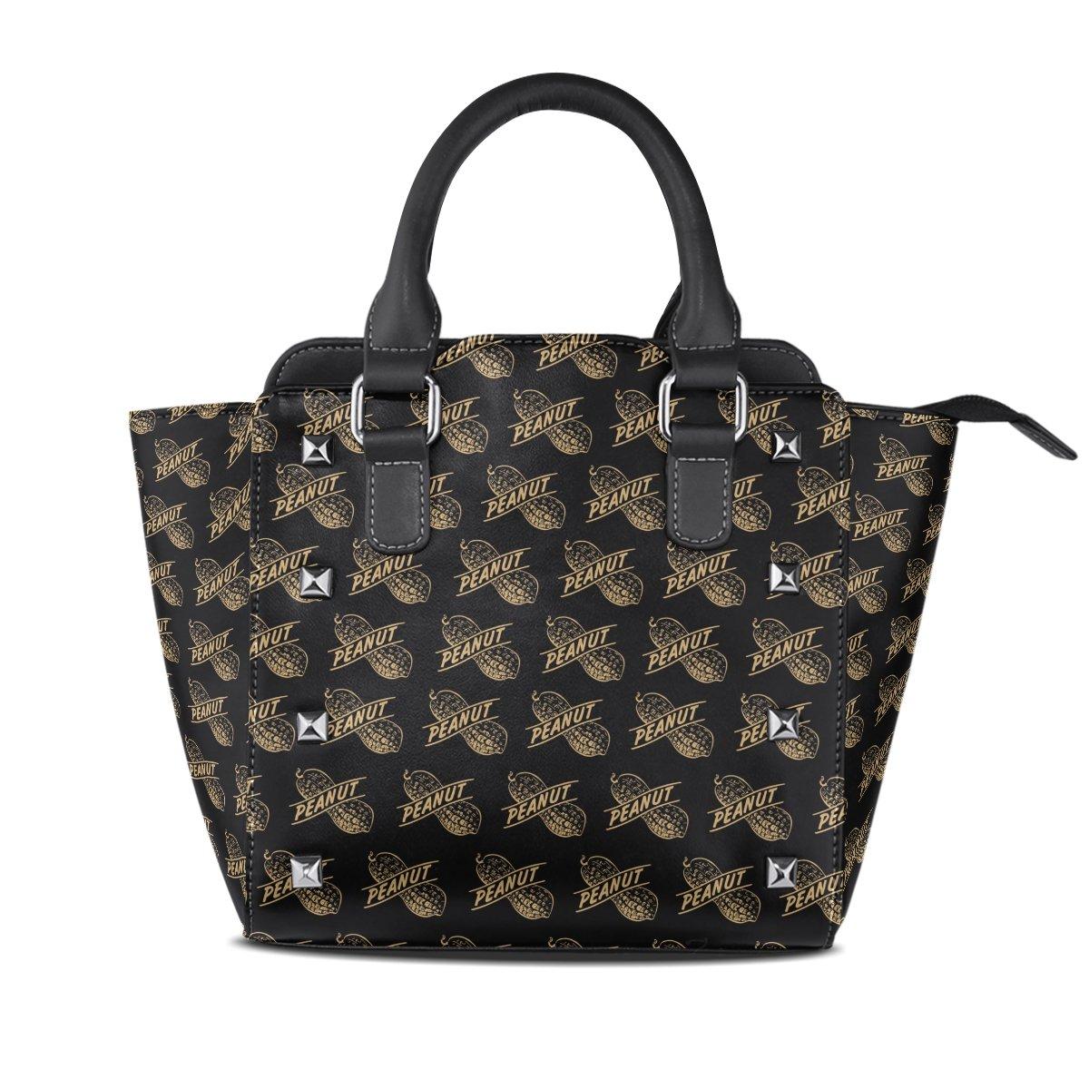 Jennifer PU Leather Top-Handle Handbags Amazing Cute Peanut Pattern Single-Shoulder Tote Crossbody Bag Messenger Bags For Women