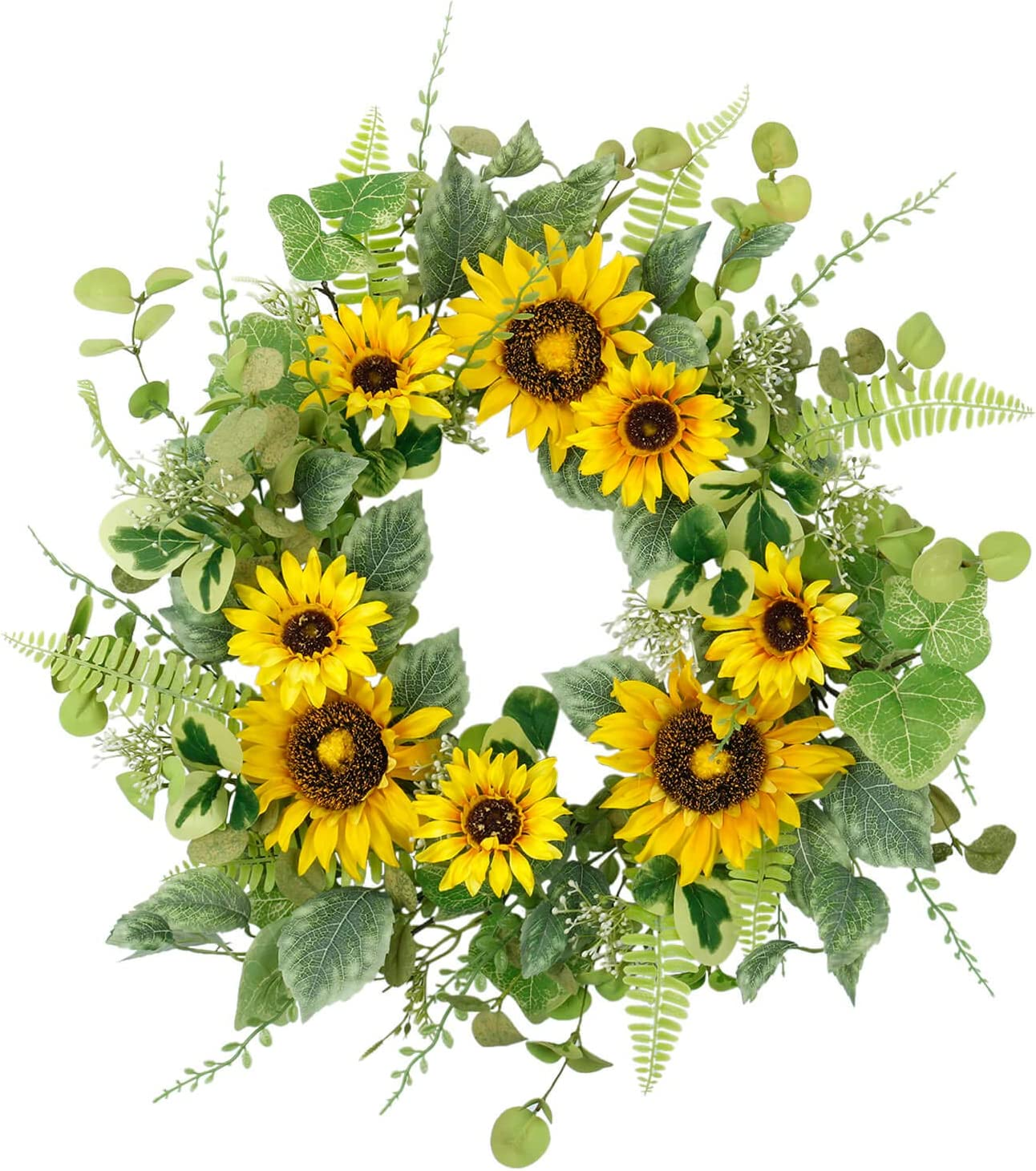 Cloris Art Wreath for Front Door, 22 Inch Artificial Sunflower Fern Wreath for Home Office Party Holiday, Spring and Summer Farmhouse Decor
