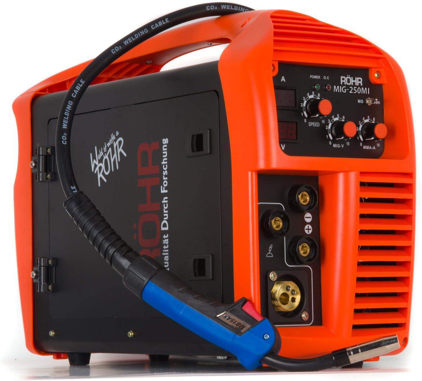 Röhr MIG-250MI - Soldador MIG Inverter MMA de 250 Amp Con o Sin Gas - Máquina 3 en 1 - Tecnología IGBT - CC - 240 V