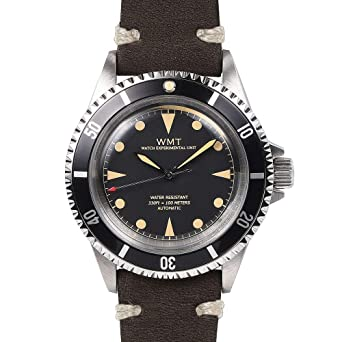 Walter Mitt Royal Marine Diver Acero Automático Miyota Negro Cuero Marron Reloj Unisex: Amazon.es: Relojes