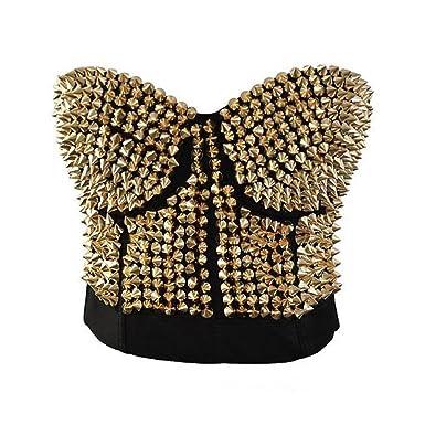 3ca65a49a7 Burlesque Steampunk Gaga Bustier Sport Bra Studded Rivet Corset Top by  Romady Medium Gold