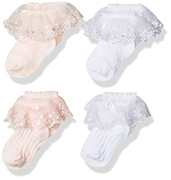 20e8cdfce6ef Epeius Little Kids Girls Bow Pearl Eyelet Lace Socks Princess Dress Socks  for 2-