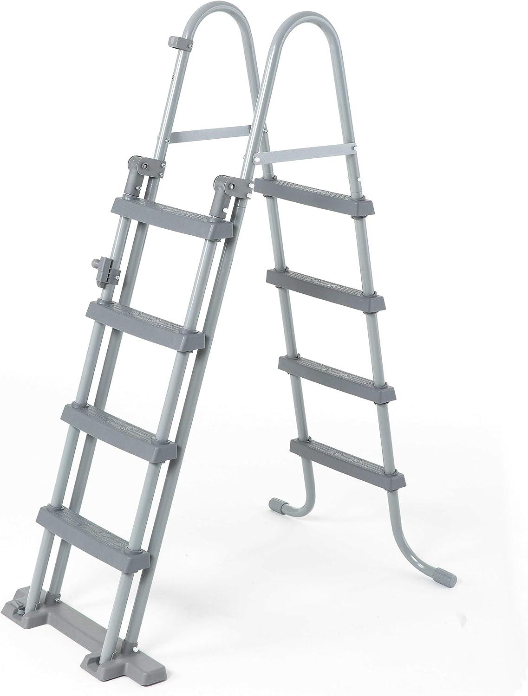 Bestway - Escalera de seguridad para piscinas elevadas, 4 peldaños a cada lado, altura 122 cm
