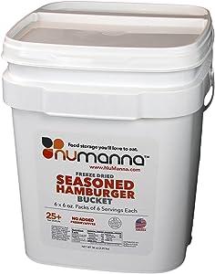 NuManna Seasoned Ground Beef (Hamburger) Bucket 36 Servings- Emergency Survival Food Storage Kit, Separate Rations, in a Bucket, 25 Plus Year Shelf Life, GMO-Free