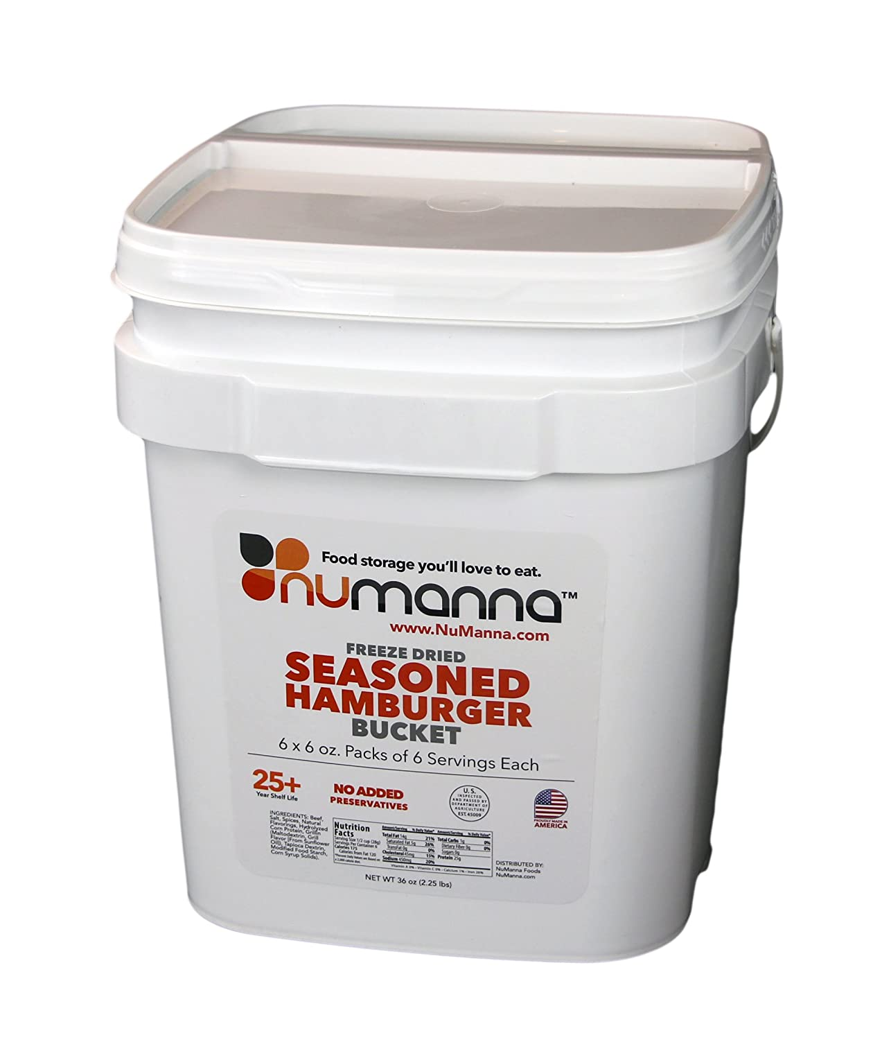 NuManna Seasoned Ground Beef (Hamburger) Bucket 36 Meals - Emergency Survival Food Storage Kit, Separate Rations, in a Bucket, 25 Plus Year Shelf Life, GMO-Free INT-NMSGB