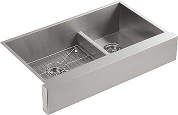kohler vault double bowl 18 gauge stainless steel farmhouse apron front kitchen sink undermount installation k 3945 na