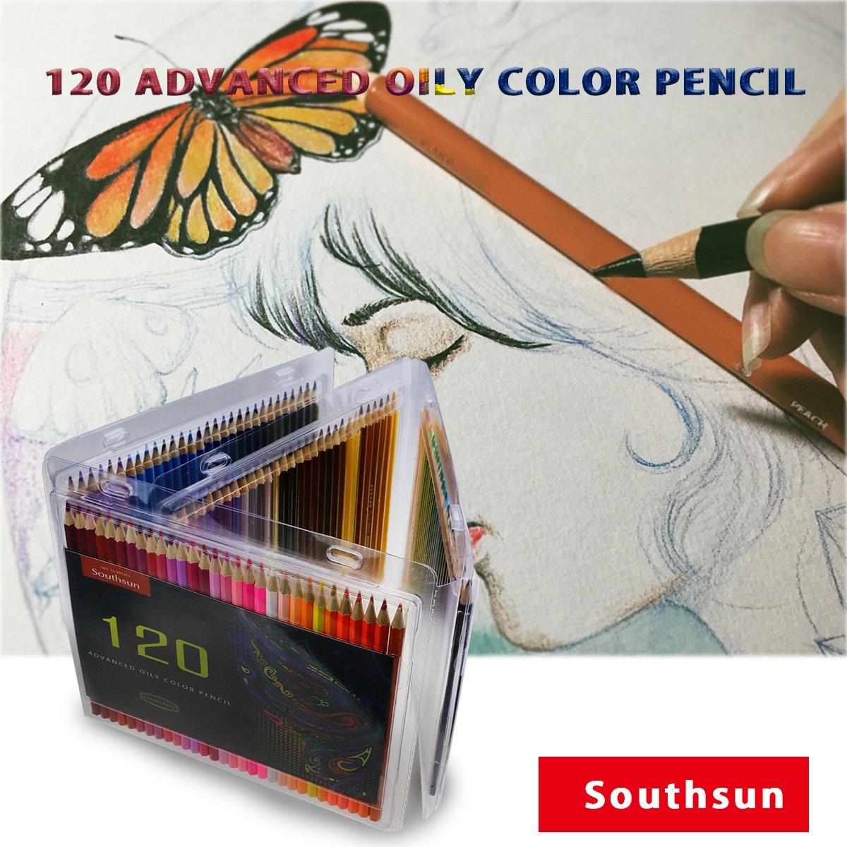 Pour adultes Southsun 120 pack coloris assortis Convient pour le coloriage et lart Lot de 120 crayons de couleur gras