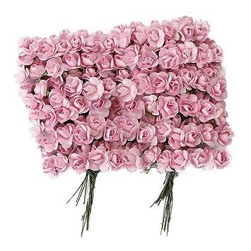 Amazon De Homgaty 144 Rosa Mini Papierrosen Als Hochzeitskarten
