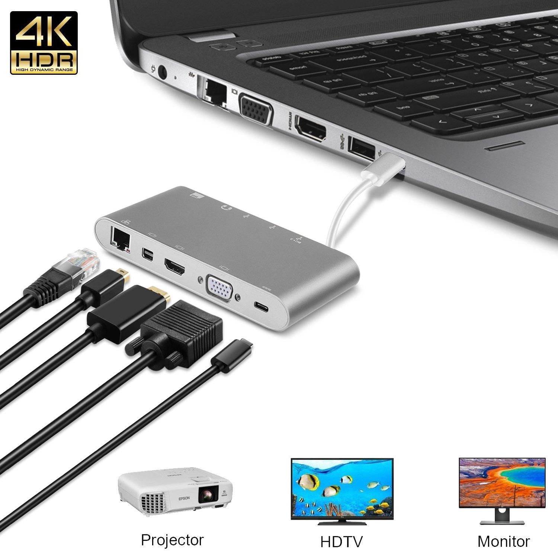 Cargador TNP Products para USB tipo C a USB, HDMI, VGA, Ethernet, USB tipo C, lector de tarjetas SD y MMC, USB 3.0, conector Jack de 3,5 mm, salida de audio ...