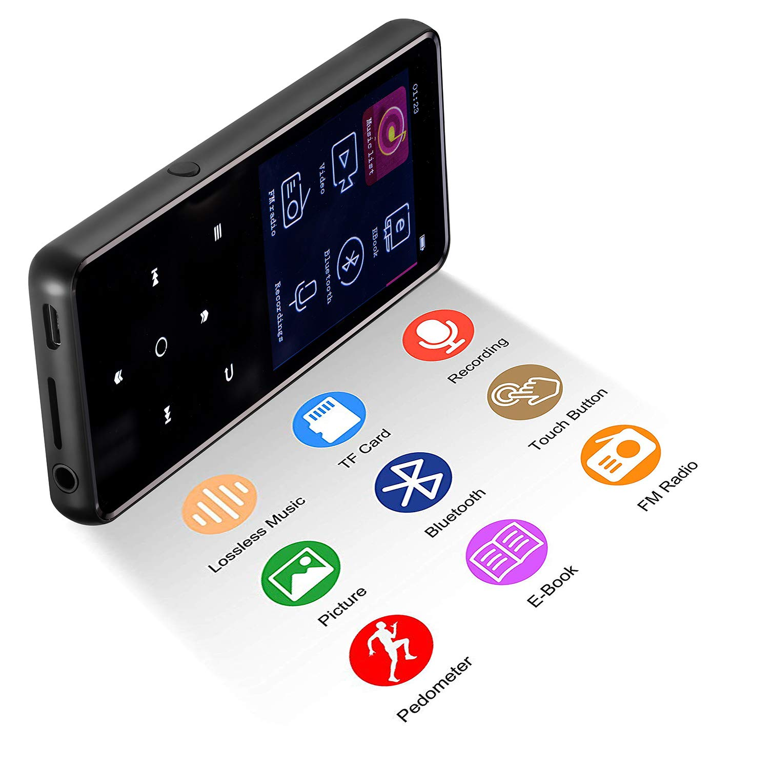 MP3 Player,PELDA Bluetooth MP3 Player,16GB MP3 Player with 2.4'' Large Screen, HiFi Lossless Music Player with Speaker,Touch Buttons,FM Radio/Recorder,16GB Come with a Wired Headphone by Pelda (Image #3)