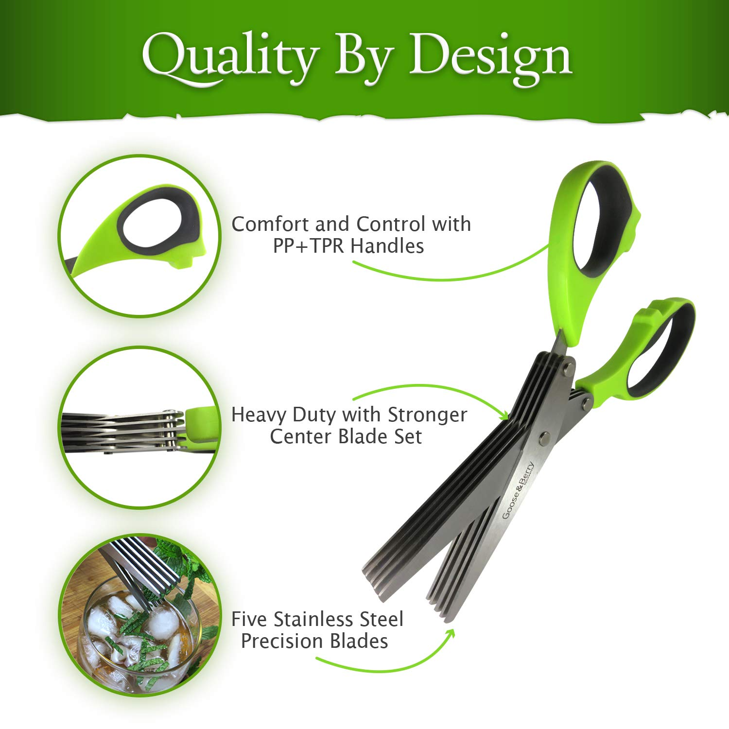 Amazon.com: GBH Herb Scissors with 5 Blades and Cover for ...