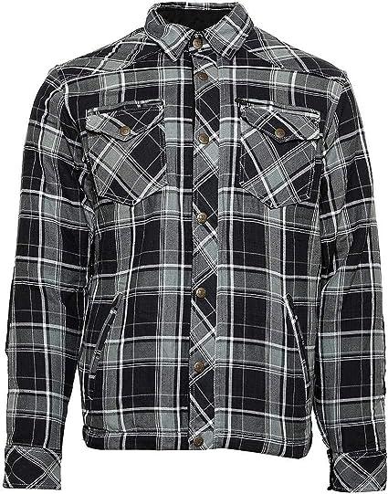 Bores Lumberjack Chaquetas de camisa resistente a rasguños, impermeable, gris de blanco y negro a cuadros, tamaño 6 x l: Amazon.es: Coche y moto