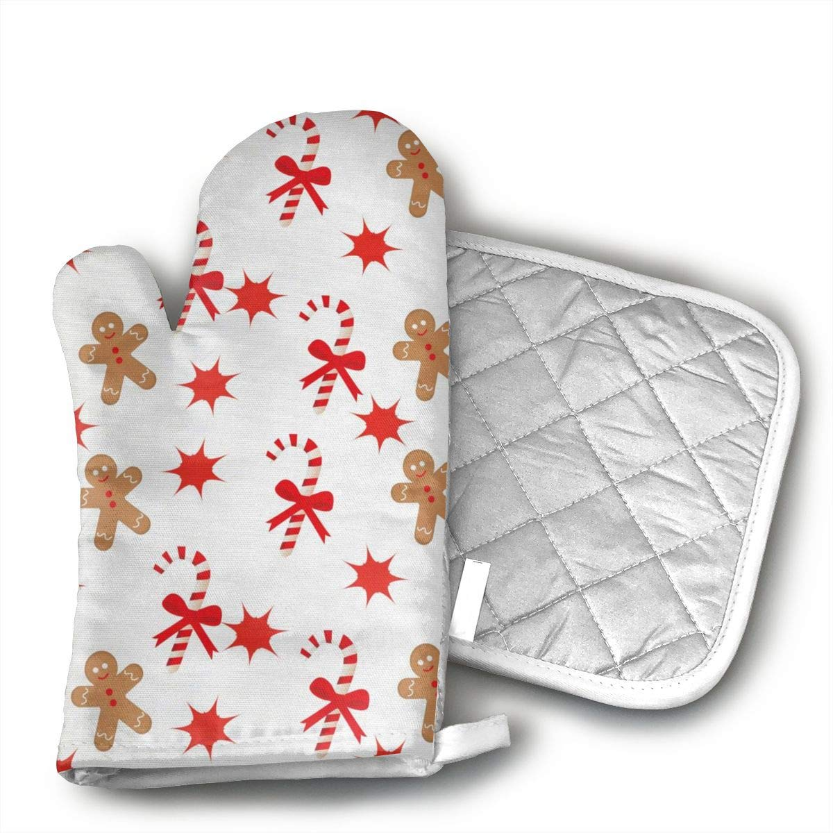 not Oven Mitts and Potholders Bow Tie Red Star Gingerbread Man Candy Cane Pattern Non-Slip Grip Heat Resistant Oven Gloves BBQ Cooking Baking Grilling