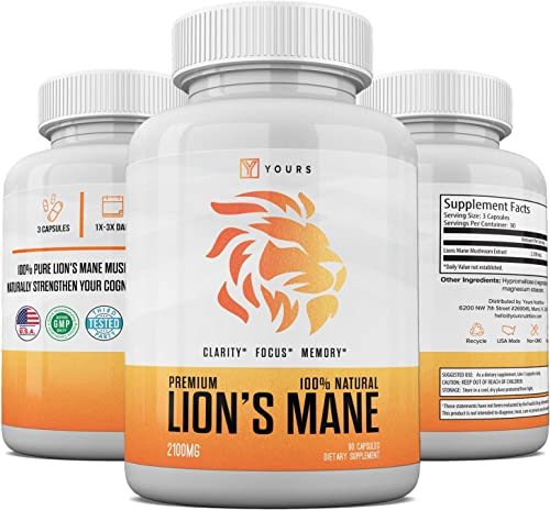Natural Lions Mane Mushroom Capsules – Made in USA – Max Strength Immune System Booster 2100 mg Lion s Mane Powder in Veggie Capsules – Nootropic Supports Brain Functions – Memory GMO-Free Supplement