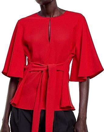 Zara 4043/061 - Camiseta de Tirantes para Mujer - Rojo ...