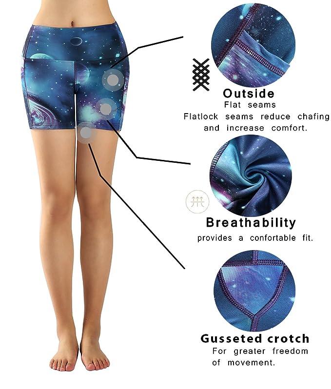 025185d6d8fe Sugar Pocket Yoga Shorts Women s Basic High Waisted Side Pocket Short   Amazon.co.uk  Clothing