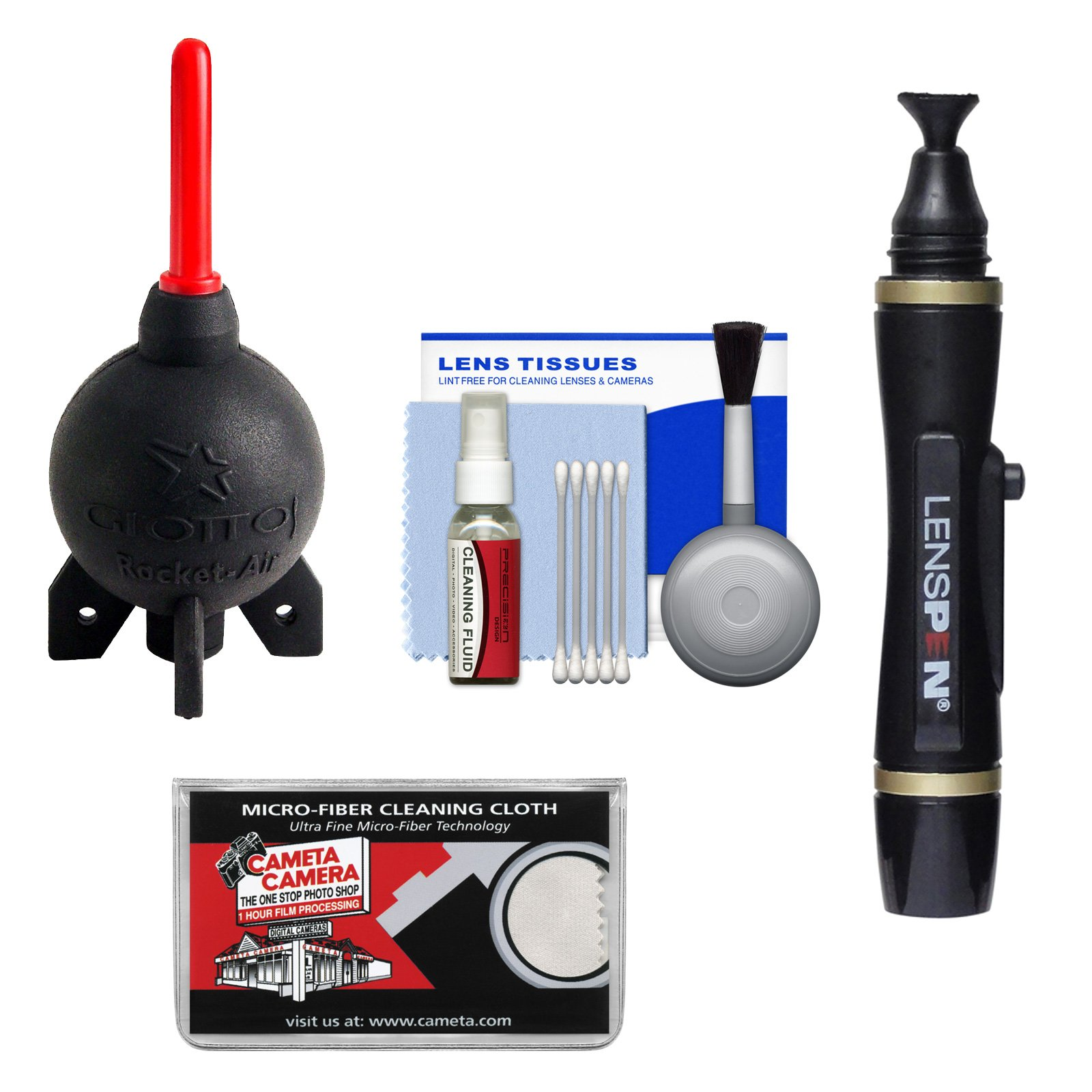 Giottos Rocket-Air Blower Professional AA1920 + Lenspen Lens Pen Cleaning System + Accessory Kit for Canon, Nikon, Olympus, Pentax and Sony Digital SLR Cameras by Giotto's