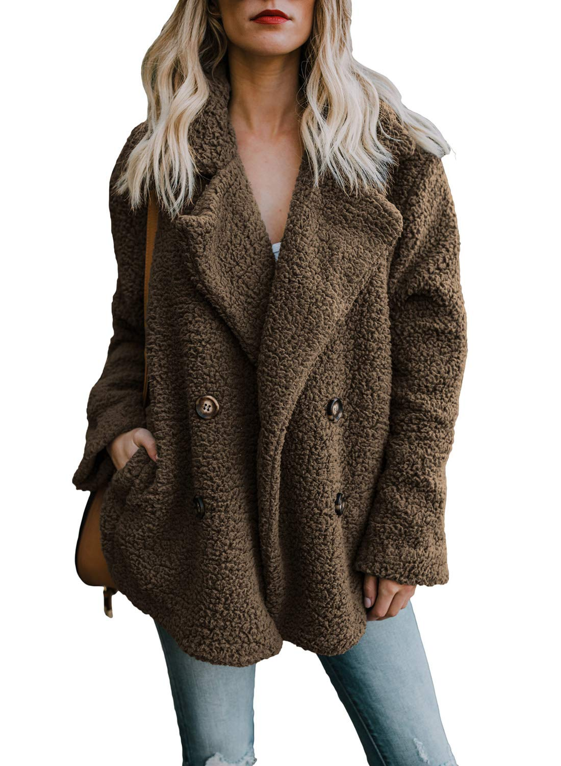 HOTAPEI Womens Plus Size Warm Casual Oversized Long Sleeve Open Front Fuzzy Coats with Pockets Fluffy Cardigan Sweater Jacket Coat Outwear Coffee X-Large